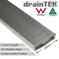 120mm wedge wire steel tile insert custom lengths shower grate