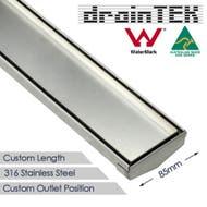 85mm wide stainless steel tile insert custom lengths shower grate