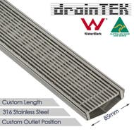 85mm wide stainless steel wedge wire custom lengths shower grate