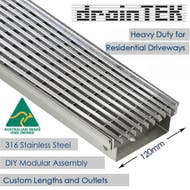 Outdoor Heavy Duty Drainage Channel - Tray and Grate - Wedge Wire - 316L Stainless Steel - 120mm width