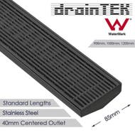 85mm wide linear shower grate 40mm centered 40mm diameter outlet